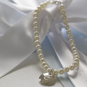 Girls Personalised Pearl Bridesmaid Bracelet