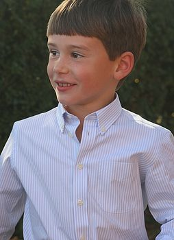 Boy's Sky Blue and Chalk Stripe Shirt