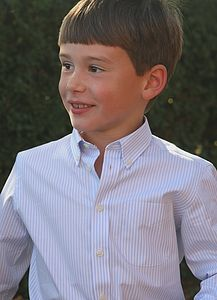 Boy's Sky Blue and Chalk Stripe Shirt - shirts & blouses