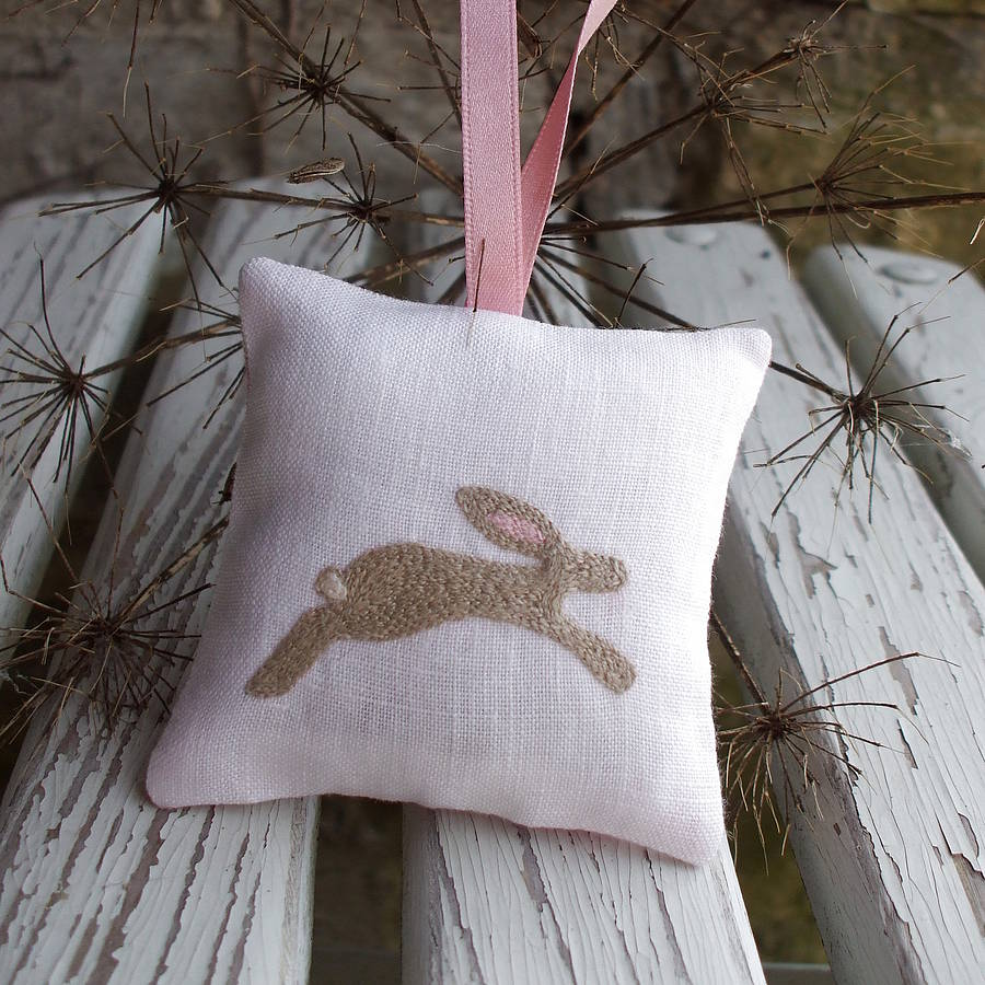Hand Embroidered Bunny Lavender Bag By Caroline Watts