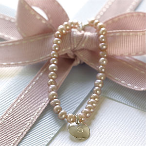 Girls Personalised Pink Pearl Bracelet