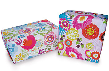 Songbird and Tropical Flower Gift Wrap