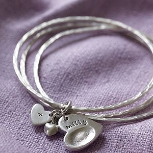 Fingerprint Charm Bangles - gifts for new parents