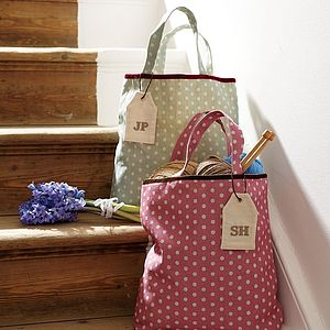Personalised Polka Dot Linen Bag - fashion accessories