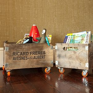 Rustic Wooden Storage Box On Wheels - boxes, trunks & crates