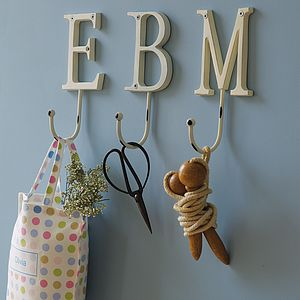 Vintage Style Painted Letter Hook - laundry room