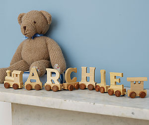 Personalised Wooden Name Train - stocking fillers for babies & children