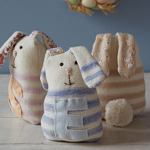 Striped Rabbit With Initial - soft toys & dolls