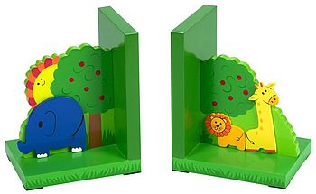 Jungle Handpainted Bookends