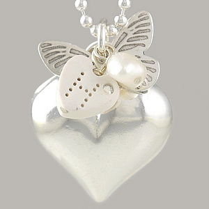 Butterfly Heart Necklace For Mothers
