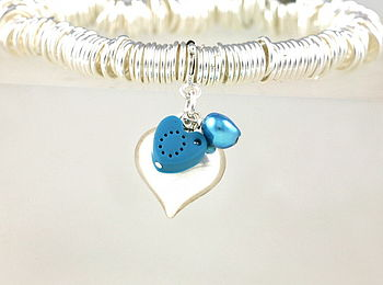 Personalised Silver Puff Heart Charm