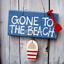 beach sign_blue wash with cherry stripe