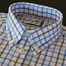 Boy's Blue and Brown Check Shirt