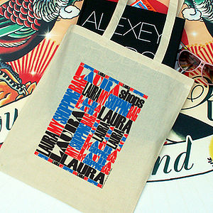 Personalised Brit Pop Tote Shopper - bags, purses & wallets