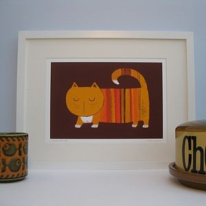 Marmalade the Ginger Cat Fine Art Print - prints for christmas