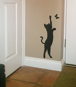 Cat and butterfly wall art sticker / Decal - painting & decorating