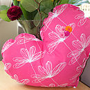 Pink Etched Floral Large Heart Decoration