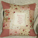 Vintage style silk patchwork name and date