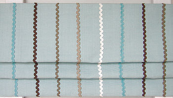 Ric-Rack-Blue roman blind