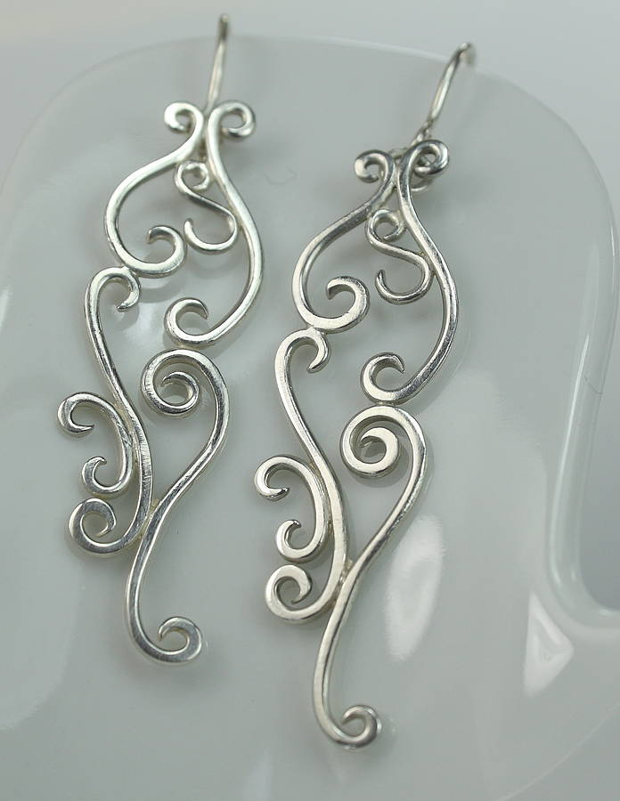 Silver Romance Earrings, Long Drop Earrings