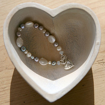 silver and pearl heart charm bracelet