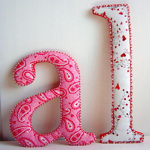 Fabric Covered Beaded Letter - children's room