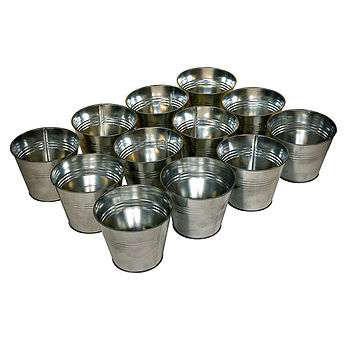 The Zinc Pot Set comprises 12 pots