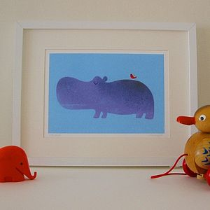 Harold the Hippo Fine Art Print - canvas prints & art for children