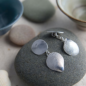 Fine Silver Personalised Scallop Shell Cufflinks