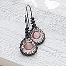Handmade silver and pink msytic topaz wire wrapped earrings 1