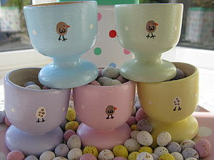 Handpainted Egg & Chick Eggcup - egg cups & cosies