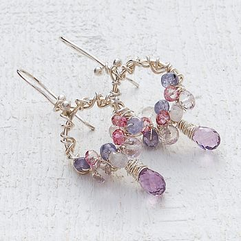 Handmade Silver Hoop & Gemstone Cluster Earrings