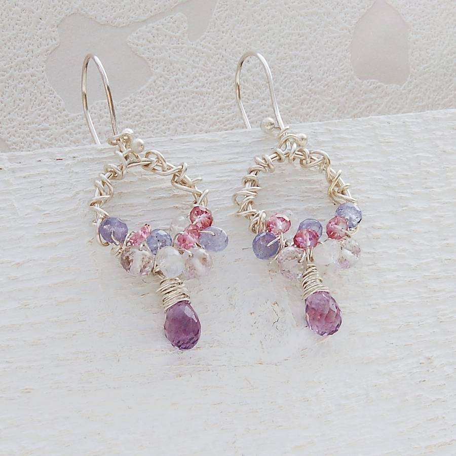 Handmade silver hoop amp gemstone cluster earrings by