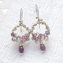 Handmade silver and aaa gemstone hoop earrings 3