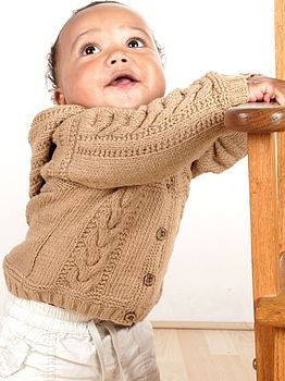 Handmade Organic Cotton Cable Hooded Cardigan