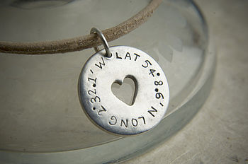 Solid Silver Personalised Latitude Longitude Heart Token Bracelet
