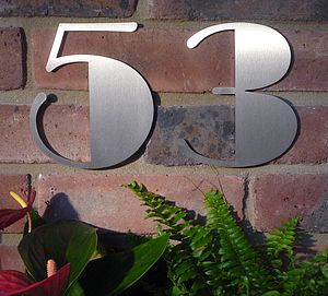 Stainless Steel Art Deco House Number - garden