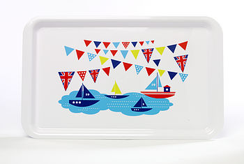 Tray With Boats & Flags