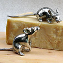 Solid Pewter Mice Sculptures