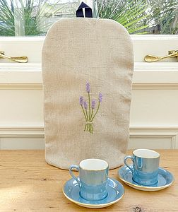 Personalised Coffee Cosy - Lavender Vintage Linen - tea & coffee cosies