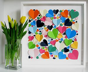 Personlised Vibrant Hearts Framed Picture - baby's room