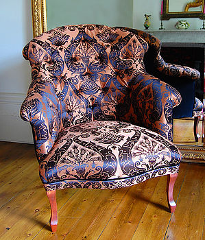 Gold Damask French Chair