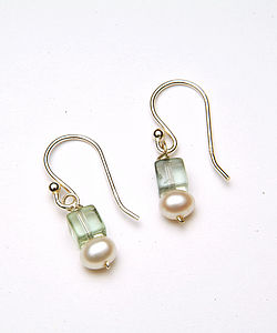 Fresh Water Pearl & Flourite Earrings