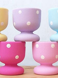 Handpainted Dotty Eggcups - egg cups & cosies