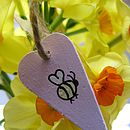 Handpainted Heart with Bumble Bee Decoration