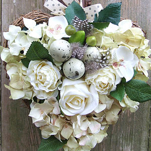 Silk Flower and Faux Egg Heart - flowers & plants