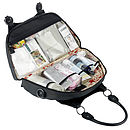 Amara baby changing bag open with clear wipe clean pockets