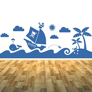Sea Scene Wall Sticker Mural - decorative accessories