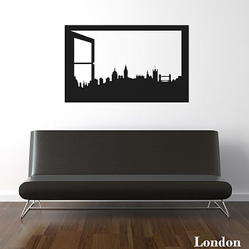 London Skyline Window Silhouette Wall Sticker