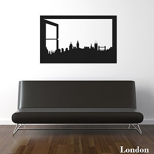 London Skyline Window Silhouette Wall Sticker - bedroom